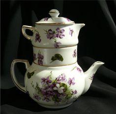 Hammersley Victorian Violets Stacking Teapot Creamer & Sugar Set