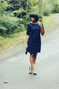 Blue dress with black polka dots