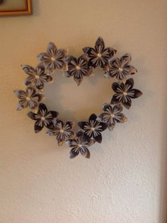 Origami Kusudama flower heart with pearl beads