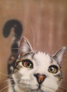 Cat art, cat painting on canvas, inquisitive cat artwork