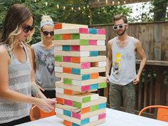 DIY Giant Jenga: get some wood from the diy store, cut it down to the right length (3 times the width; or let them do it for you at the store) and paint it in some cool colours. Easy-peasy!
