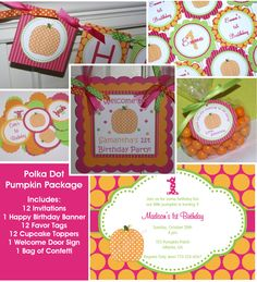 Pumpkin birthday party package, Pumpkin Party Hot pink, Orange and Green $88.00