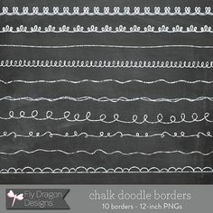 Chalk Doodle Borders and FREE Chalkboard by FlyDragonDesign, $2.95