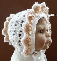 Free baby crochet pattern frilled bonnet usa
