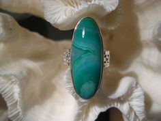 Beautiful Green Agate Ring Size 7.5. $30.00, via Etsy.