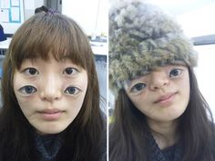 japanese artist and university student chooo-san creates eerie photoshop-like optical illusions painted upon her her hands and face. rather than photographing. Amazing 3d Tattoos, Creepy, Hands On Face, Ugly Faces, Photoshop, Artist Portfolio, Hand Art, Body Modifications, Japanese Artists