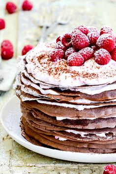 A recipe for a chocolate crepe cake with raspberry cream filling. Cupcakes, Cupcake Cakes, Slow Cooker Desserts, Chocolate Crepes, Chocolate Desserts, Cupcake Recipes, Snack Recipes, Dessert Recipes, Just Desserts