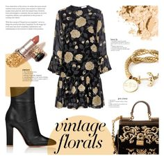 """""""Smell the Roses: Vintage Florals"""" by milica1940 ❤ liked on Polyvore featuring Dolce&Gabbana, Ganni, Bobbi Brown Cosmetics and vintage"""