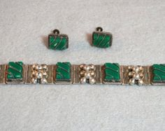 Sterling Silver and Green Onyx Panel Bracelet and Earrings 925 Mexico Vintage