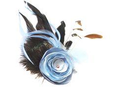 Headpieces & Fascinators - Haarschmuck Julietta taubenblau taupe aqua braun - ein Designerstück von billies bei DaWanda