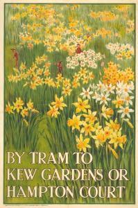 London Transport Museum poster, daffodils at Kew and Hampton Court Kew Gardens London, Nostalgia, London Transport Museum, Museum Poster, British Travel, Vintage London, London Underground, Vintage Travel Posters, Mellow Yellow