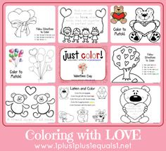 Cute Valentine's pages to include in your art centers for February.  Just Color! ~ Free Coloring Printables