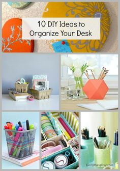 EverythingEtsy.com: 10 DIY Ideas to Organize Your Desk - I've gathered some awesome ideas that I think you will love as much as I do. -- Organize your desk drawer with upcycled cereal boxes, or add a fun geometric pencil holder to brighten your mood.