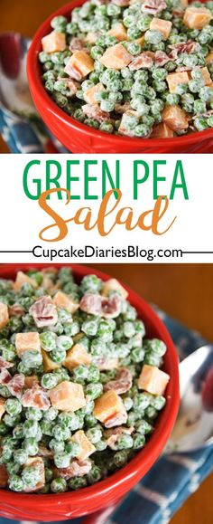 Green Pea Salad - Every picnic and BBQ needs a good side dish! Green Pea Salad is easy and the perfect chilled side dish for just about any meal.