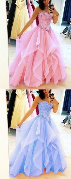Beautiful Quinceanera Dresses Beaded Sweetheart Corset Organza Ruffles Ball Gown ML12052 by moonlight, $164.44 USD