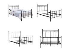 US $273.83 #bedframe Shabby Chic Black Metal Bed Frame Queen Size Bedroom Furniture Headboard Dresser