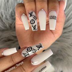 Nails by Tonya - Yelp Gold Gel Nails, Bling Acrylic Nails, Acrylic Nails Coffin Short, Best Acrylic Nails, Acryl Nails, Nails Now, Nagellack Design, Fire Nails, Luxury Nails
