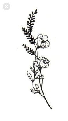 Time Tattoos, Body Art Tattoos, Small Tattoos, Wildflower Drawing, Wildflower Tattoo, Doodle Tattoo, Diy Tattoo, Sketch Tattoo Design, Tattoo Designs