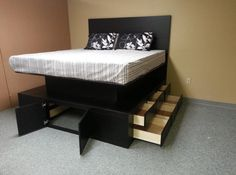 raised bed frame with drawers