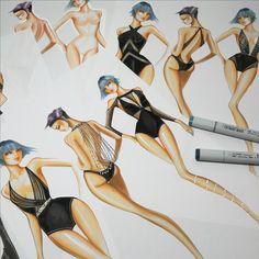 Design Swimwear inspired by Evening wear by Paul Keng at Otis College or Art & Design in Los Angeles. #otisfashion by @paulkengillustrator