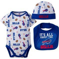 NFL Buffalo Bills Baby Boys Bodysuit, Bib and Cap Outfit Set, 3-Piece, Infant Boy's, Size: 3 - 6 Months, Blue
