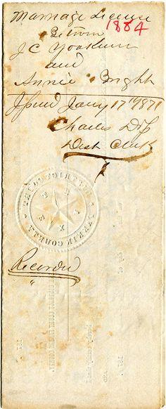 Marriage license, 1871. J. C. Yoakum & Annie (illegible) Fannin County Texas. Personal collection.