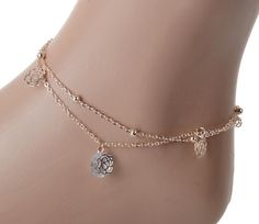 NEW 2015  Sexy Crystal Double Layer Gold Ankle Chain Anklet Bracelet Beach free shipping