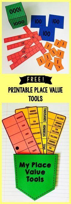 Free! Printable base 10 blocks, place value strips (OTH thru billions, also includes decimals)