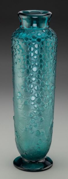 Daum Acid-Etched Art Deco Teal Glass Vase Circa 1930