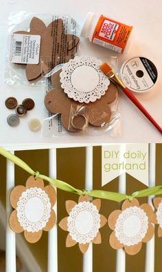 This simple doily banner is the perfect spring craft! Make it with Mod Podge for a pretty accent to your seasonal home decor - it's so easy!