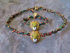 Lion Head Clay Bead Rasta Hemp Bracelet and Choker by Jenstylehemp