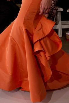 Hot Coral Medrmaid dress Oscar de la Renta - PreFall 2013 #fashion #details