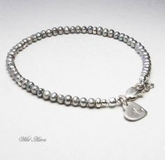 Gray Pearl Bracelet. Personalized. Initial Stamped by WildAsters