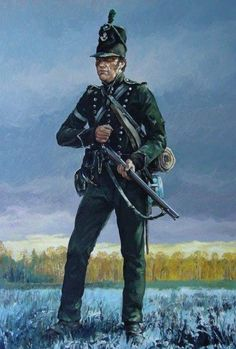 """Far in advance"" - The distinctive 'Green Jacket' of England's - 95th Rifles (C. Hook)"