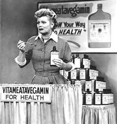 One of the most iconic images of Lucy during the Vitameatavegamin commercial~
