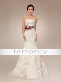 strapless mermaid lace and tulle wedding dress with belt. $258.00, via Etsy.