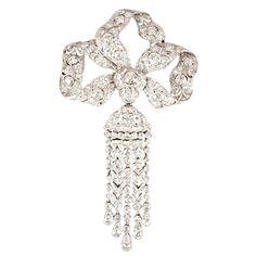 Edwardian Diamond Platinum Tassel Bow Brooch