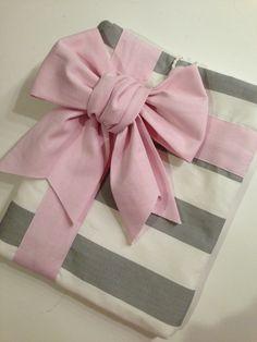 iPad Mini Sleeve Cover iPad Mini Case iPad Mini Cover Grey Stripe Pink Gift Bow. $39.99, via Etsy.