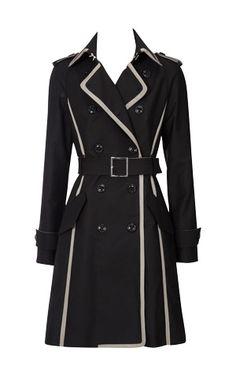 Karen Millen Taffeta Trimmed Trench Coat Black