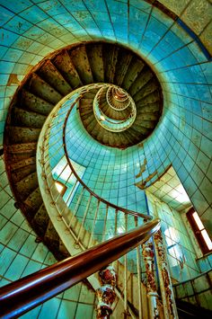 Forgotten Light ~ Looking up the Spiral Staircase in an abandoned Lighthouse.