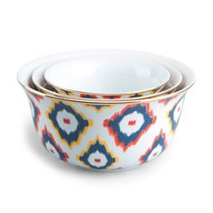 Ikat Print Nesting Bowls Set