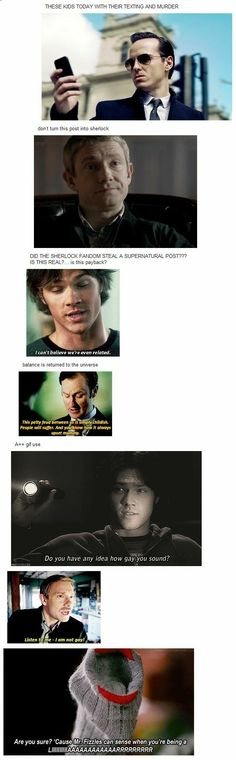 Supernatural & Sherlock :) It's even funnier if you're in both fandoms. Destiel, Johnlock, Sherlock Fandom, Sherlock Holmes, Harry Potter, Misha Collins, Hunger Games, Nos4a2, Pokerface