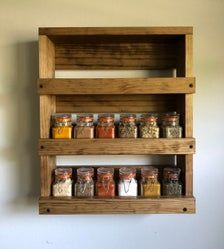 Wall Mounted Spice Rack Gift Item For Her Kitchen Spice   Etsy Hanging Spice Rack, Wall Spice Rack, Wall Mounted Spice Rack, Spice Shelf, Mounted Shelves, Hanging Shelves, Spice Jars, Spice Rack Gift, Spice Rack Rustic