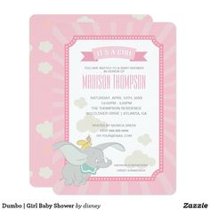 Dumbo | Girl Baby Shower Card This cute baby shower invitation features your favorite elephant, Dumbo.