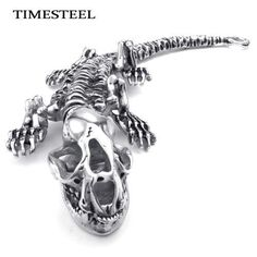 TSB073142 Fashion Men's Titanium Bracelet 316L Stainless Steel Punk Dinosaur Bracelet