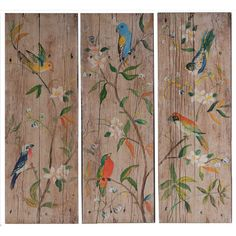 Features:  -Distressed aged wood finish.  Subject: -Floral and botanical.  Finish: -Cherry.  Distressed: -Yes.  Handmade: -Yes.  Primary Material: -Wood.  Number of Items Included: -3. Dimensions:  Ov
