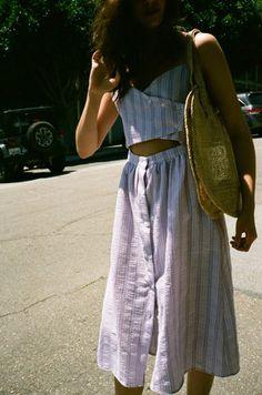 Sway Striped Dress - White/Lilac Stripe