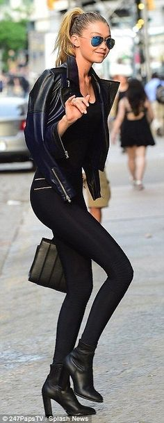 Model pals: Karlie Kloss, left, and Gigi Hadid, right, were seen arriving at Taylor Swift'...