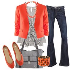 casual outfit- jeans, gray ruffle top, orange cardigan, flats, and jewelry, and gray bag.