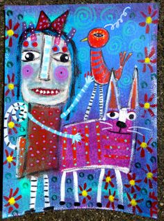 """""""My Two Favorite Pets"""" original outsider raw brut painting by Tracey Ann Finley"""